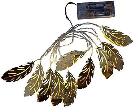 SANNYSIS 2PC Golden Feather Led Lights String Christmas Lamp Xmas Party Home Decor