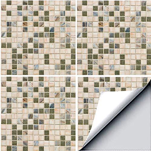 2 juegos de papel pintado autoadhesivo de mosaico, impermeable, a prueba de aceite, fácil de limpiar, azulejos autoadhesivos para baño, cocina, decoración artística
