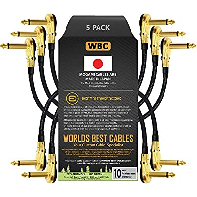 5 Units -Mogami 2319-12 cm (5 Inch) -Instrument Effects Patch Cable With Gold Plated, Low-Profile, Right Angled Pancake Type TS (6.35mm) Connectors