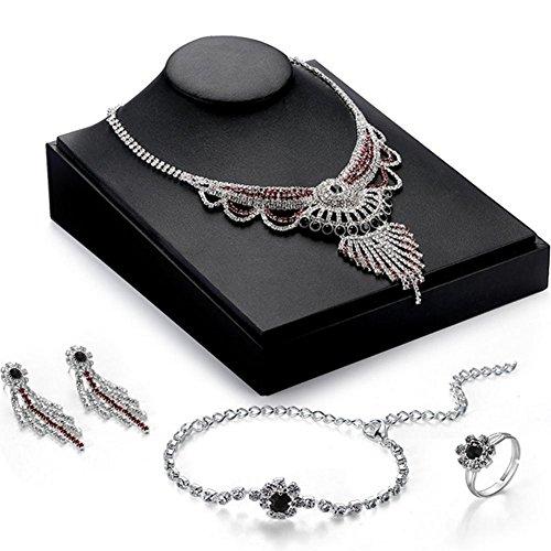 Dames mode creatieve ketting oorbellen armband ringen Vier stukken bruiloft banket bruiloft Sieraden Set