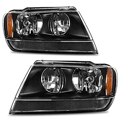 AUTOSAVER88 Headlight Assembly Compatible with 1999 2000 2001 2002 2003 2004 Jeep Grand Cherokee OE Headlamp Black Housing