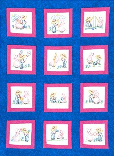 Jack Dempsey Mélange de Coton sur Le thème estampillé Blanc Quilt Blocks 22,9 cm X 9-inch-Sunbonnet Sue et Sam
