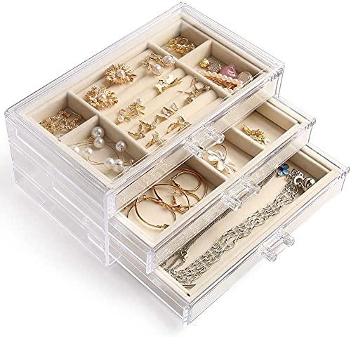 MMBOX - Portagioie da donna con 3 cassetti, in velluto, per orecchini, bracciali, collane e anelli, in acrilico trasparente e Calotta acrilica, colore: Beige bianco ( 3 cassetti), cod. JE-00G1