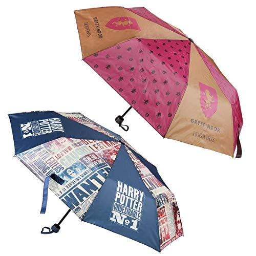 Harry Potter Regenschirm, faltbar, Braun