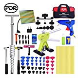 Super PDR 69 Piece Paintless Dent Repair Tool Dent Puller Kit, Adjustable Width, Pops a Dent Car Dent Removal Kit, Golden Lifter, Bridge Puller& Glue Gun for Automobile Body Motorcycle Refrigerator