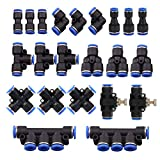 22 Pcs Push to Connect Fittings Kit, 1/4' 6mm Od Quick Release Connectors, 3 Elbows, 3 Union Tee, 3 Y...