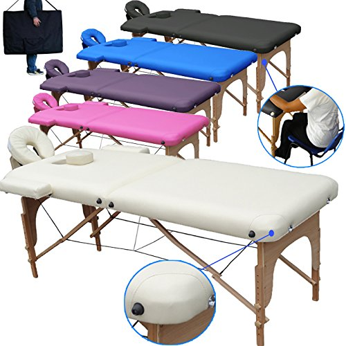 Beltom Mobile Massagetisch Massageliege Massagebank 2 zonen klappbar THERAPIELIEGE +TA. - Creme