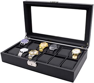 Bloodyrippa Luxury Watch Box, 12 Grids, Carbon Fiber Cover Finish, Top Transparent Acrylic Display Window, Metal Lock Organizer