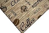 Teppich Modern Flachgewebe Gel Läufer Küchenteppich Küchenläufer Braun Beige Schwarz mit Schriftzug Coffee Cappuccino Espresso Latte Größe 80×150 cm - 2