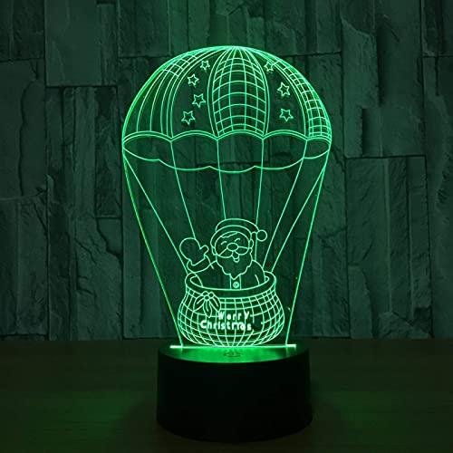 Luz De Noche Led 3D Lámpara De Ilusión Óptica De Santa Lindo Lámpara De Guardería Sala De Estar Decoración De Dormitorio Lámpara De Escritorio De Noche Bebé Niños Cumpleaños Regalos De Navidad Jugue