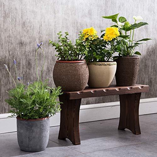 YASE-king Planta de Madera Maciza Soporte de Suelo de un Solo Paso Flor de Banco de la Sala Cubierta de Flores de la Planta del Estante Stand (Tamaño: 60x30x20cm)