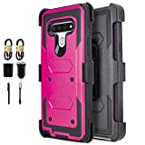 6-goodeals for LG Stylo 6 Case, with Built-in [Screen Protector] Heavy Duty Full-Body Rugged Holster Armor Case [Belt Swivel Clip][Kickstand].Cover for LG Stylo 6 Case (Accessories Pack) (Pink)