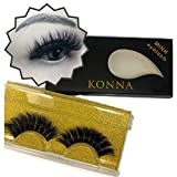 Konna 3D Mink False Eyelashes Super Dense Black Handmade Lashes 1 Pair Sets With Tweezer-B