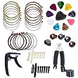 Jcevium Juego de 34 accesorios para guitarra acústica, cuerdas 3 en 1, púas para puente, pinza de puente y tuerca de hueso de 6 cuerdas, púas de dedo.