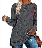 Nekosi Frauen Casual lose Fallen Sweatshirt Lange Ärmel Rundhalsausschnitt Pullover Seite Split Tuniken Grau XL