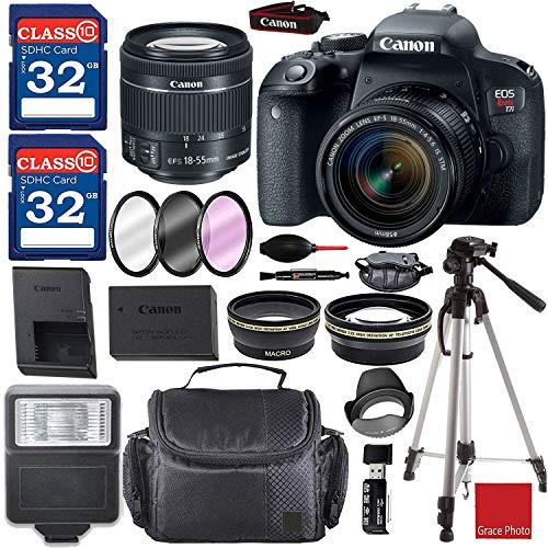 Canon EOS Rebel T7i Digital SLR Camera Kit with EF-S 18-55 is STM Lens (Black) and Premium Accessory Bundle