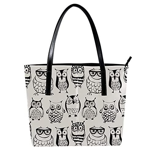 LORVIES Cartoon-Brillenmodell, niedliche Eulen, Vögel, Schultertasche, PU-Leder und Handtasche für Damen