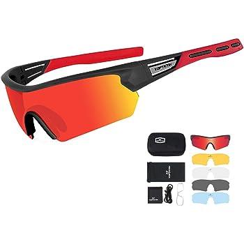 Gafas Ciclismo Polarizadas con 5 Lentes Intercambiables Gafas de Sol Deportivas Antivaho Antireflejo Anti Viento y UV Adaptadas a Deporte Carrera Running Bicicleta MTB para Hombre y Mujer (Rojo): Amazon.es: Deportes y