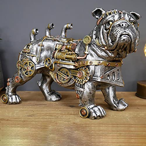 Steampunk Mechanical Dog Statue,Industrial Design French Bulldog Sculpture,Steam Punk Bulldog Statues,Resin Ornaments Collectibles, for Indoor Home Office Bookshelf Desktop Decorations