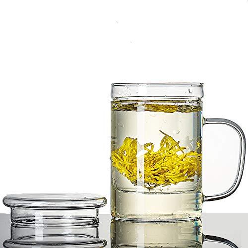 CHNTEA Tea Mug Glass Tea Infuser Cup with Infuser and Lid for Steeping,13 Ounces Transparent Mug