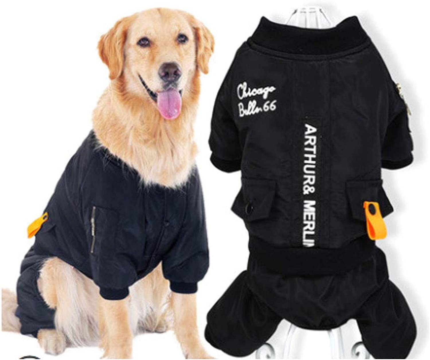 Haoyushangmao, Dog Clothes, Autumn and Winter Clothes, MediumSized Large Dogs, Side Grazing Samoyed golden Retriever, Thick Winter Pet FourLegged Clothes Fashion (Size   M)