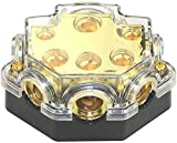 Power Distribution Block Car Auto Audio Amplifier Vehicle 1 in 5 Ways 0/2/4 Gauge in 2/4/8 Gauge Out Car Amplifier Audio Splitter Connecting Block