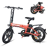 BRIGHT GG Nakto Electric Bike for Adults 16' Folding Ebike with 250W Motor and 36V10AH Lithium Battery,Red Electric Bicycle with Charger