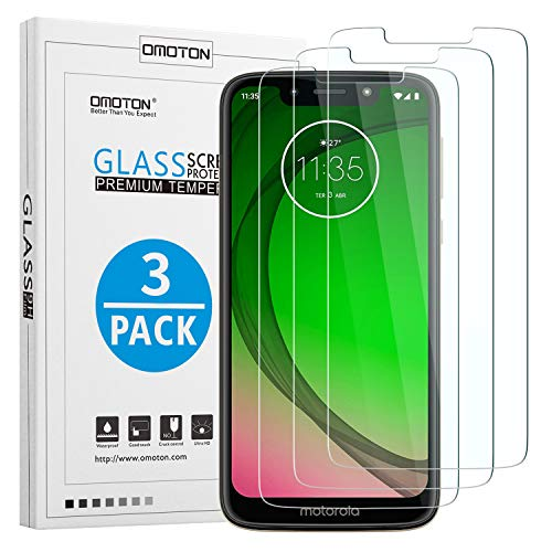 OMOTON [3 Stück Panzerglas Schutzfolie für Motorola Moto G7 Play (5.7 Zoll), 9H Härte, Anti-Kratzen, Anti-Öl, Anti-Bläschen,Kristall-klar