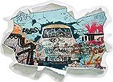 Stil.Zeit Trabant durch die Wand, Trabi DDR Kult, Papier 3D-Wandsticker Format: 92x67 cm Wanddekoration 3D-Wandaufkleber Wandtattoo