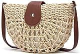 Straw Crossbody Bag,Women Straw Shoulder Bag Summer Beach Straw Bag Purse For Travel