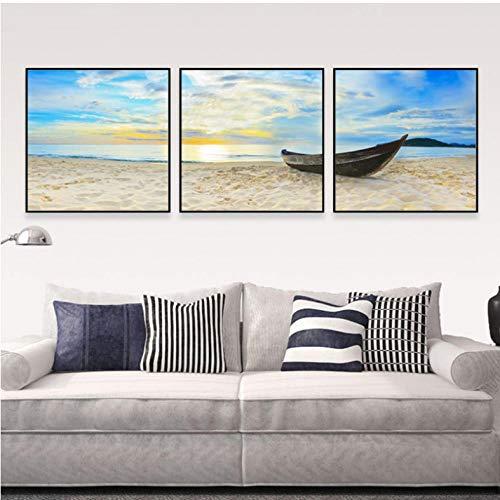 FANGYUAN Beach Sands Canvas Bilder Boot Malerei Sonnenaufgang am Meer Morgen Seestück Wandkunst für Wohnzimmer Dekor 3 Stück/Set 50X50Cmx3 No Frame