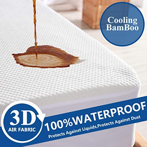 Kuzmaly Waterproof Mattress Protector Queen Size Ultra Soft Breathable 3D Air Bamboo Material product image