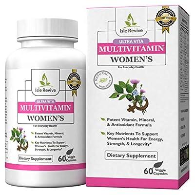 Women's Daily Multivitamin Supplement | Vegan Capsules with Biotin | Vitamins A B C D E K, Calcium, Zinc, Lutein, Magnesium | Non-GMO |Gluten Free | Multimineral Multivitamin for Women (60 Capsules)