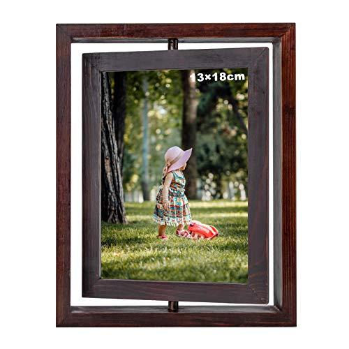 Fotorahmen, Doppelseitiger Holzbilderrahmen, 13 x 18 cm Rotieren Vintage-Bilderrahmen für den Desktop (Dunkelbraun)