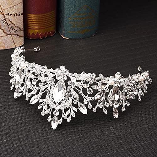 HAWFHH Boda Tiara Turbantes con Cristal Rosa Corona De Princesa Diadema Nupcial Diamante De Imitación Turbante Tocado para La Fiesta De Cumpleaños