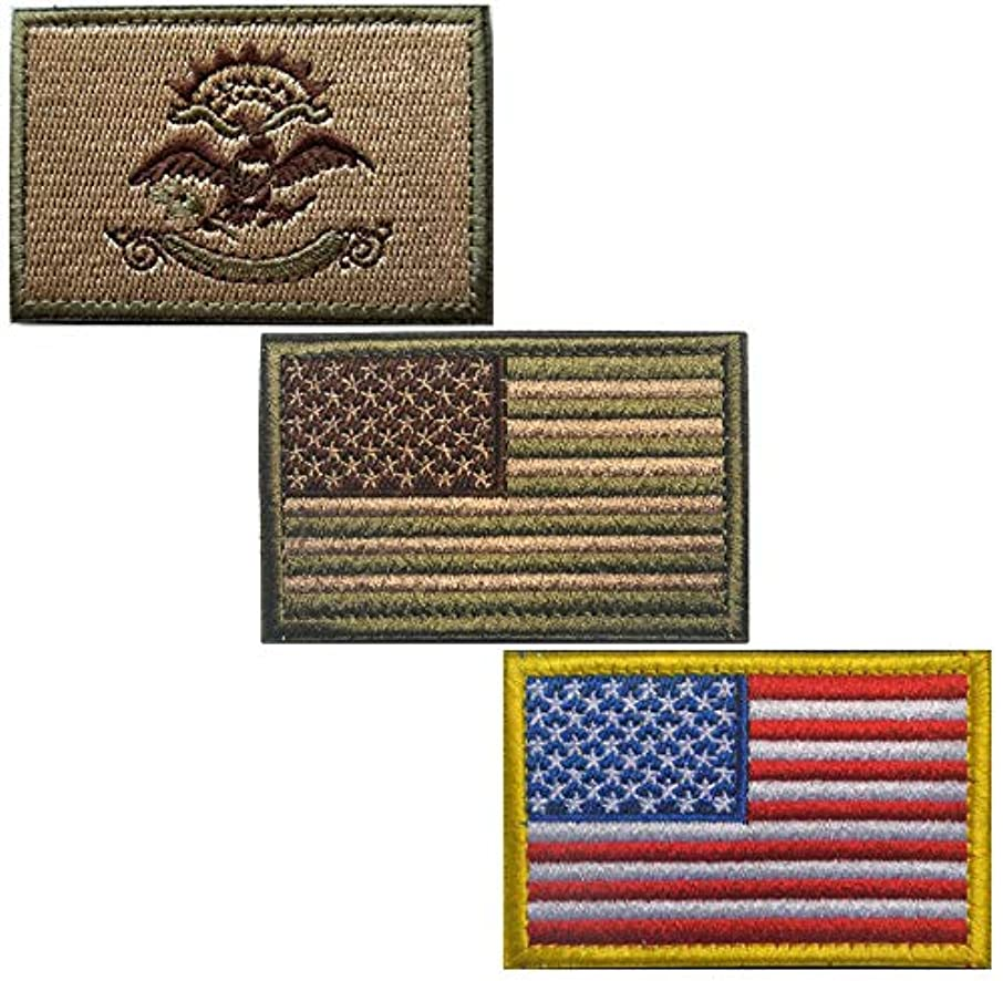 Bundle 3 Pieces - Tactical USA State Flag Patches - Multi-Colored (3X2