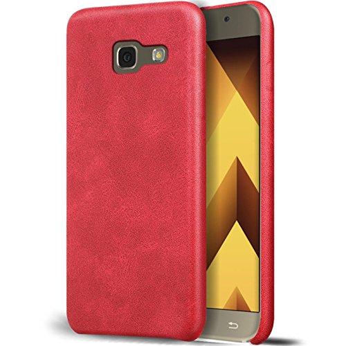 Conie UN28766 Unibody Kompatibel mit Samsung Galaxy A5 2017 (A520), PU Leder Hülle Handyhüllen flexibel passexakte Aussparung Cover für Galaxy A5 2017 (A520) Handyschutz Vintage Rot