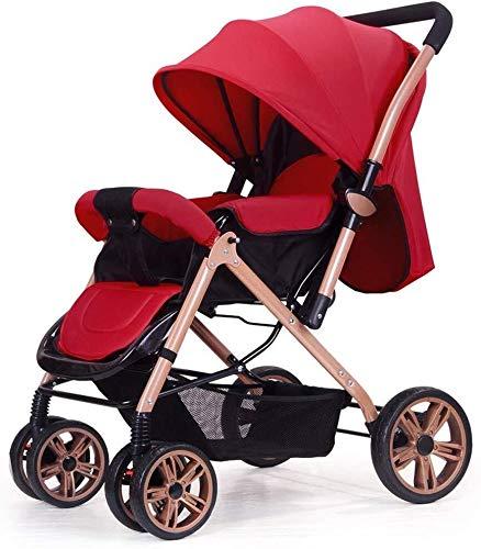 MAMINGBO Cochecito de bebé ligera compacta Silla de paseo Buggy, un rebaño de mano, con arnés de 5 puntos y la Copa titular, desde el nacimiento hasta los 25 kg (Color : Rojo)