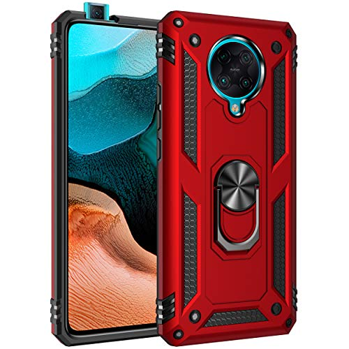BestST Handyhülle für Xiaomi Redmi k30 pro/Poco F2 Pro hülle + Bildschirmschutz, 360 Grad Drehbar Ringhalter Handytasche Hülle Cover für Xiaomi Redmi k30 pro/Poco F2 Pro Handy Hüllen,Rot