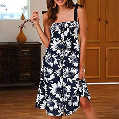 W-Fight Womens Ladies Summer Beach Sunflower Dress Holiday Boho Strappy Button Sundress