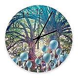 Reloj de pared redondo de madera silencioso que no hace tictac, bosque de ensueño, árboles exuberantes, setas en crecimiento, relojes de pared digitales de 10 pulgadas, estilo madera, oficina en casa,