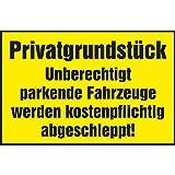 Warnschild 'Privatgrundstück! Unberechtigt parkende Fahrzeuge…' | 400x250 mm | gelb/schwarz | 1 Stück