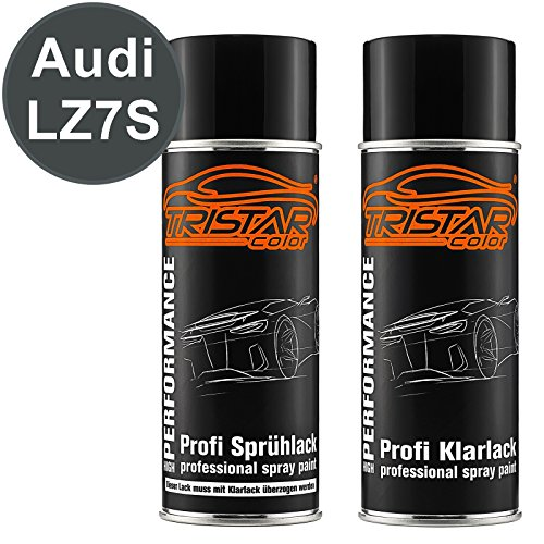 TRISTARcolor Autolack Spraydosen Set für Audi LZ7S Daytonagrau Perl/Daytona Gray Perl Basislack Klarlack Sprühdose 400ml