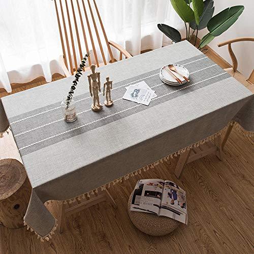 ZXCN Manteles Antimanchas Mantel Rectangular Cotton Linen Wear Resistant de Lavable Vintage Decoración D Gray 140×180cm