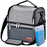 Lunch Box, STNTUS Lunch Bag, Insualted Lunch Box for Men Women, Leakproof Cooler Bag with Ice Pack, Adult Lunchbox for Meal Prep, Large Lunch Tote with Dual Compartment, Outdoor Lunch Cooler (Grey)