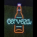 Neon Luces Pared Carteles Letrero Comida Restaurante Feliz -55cm - Personalizable - Multi modelos para elegir - Con Mando a la Distancia- Interior (Neón Botella de Cerveza)