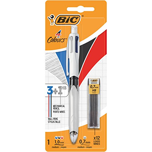 BIC 4 colors - 3 + 1HB Multifunction Ballpoint Pen with 12 0,7 Replacement Mines mm