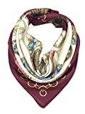 YOUR SMILE Silk Feeling Scarf Women's Fashion Pattern Deep Red Carriage Large Square Satin Headscarf (304)