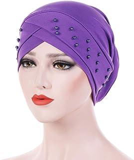 Floralby Women Beads Elastic Turban Hat Muslim Cancer Chemo Cap Hijab Fashion Headwrap