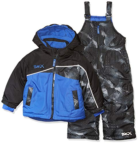 Skechers Boys' Toddler 2-Piece Heavyweight Snowsuit, Stretch Limo Black and Dazzling Blue, 4T